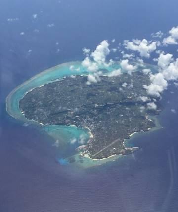 上空から見る与論島